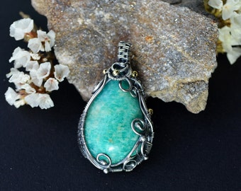 Sterling silver amazonite pendant, wire wrapped silver, wire wrapped jewelry, 925 silver, amazonite pendant, mint green, christmas gift