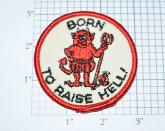 Born to Raise Hell Red Devil Funny Vintage Conversation Starter Sew-On Patch Jacket Patch Outlaw Biker Patch Vest Patch Jeans Patch e19h