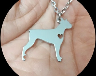 Boxer Ear Up  Necklace Custom Made Stainless Steel iHeart Dog - Personalized Necklace.Engraving.Stainless Steel chain.