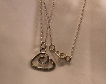 silver pendant, hammer texture, silver chain, hand made clasp