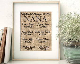 Mother's Day Gift, Grandma Gift, Mothers Day Gift, Nana Gift, Gift for Nana, Custom Nana Gift, Grandma Gift, Burlap Print