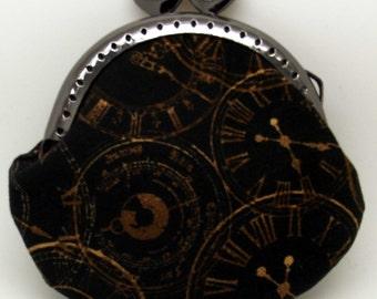Steampunk Black Clock Face Coin Purse