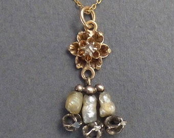 """Georgian 14K Buttercup Diamonds and Pearls Pendant and 16"""" Chain"""