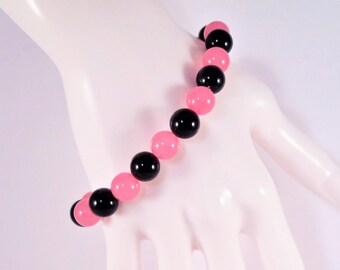 Shocking Pink/Hot Pink Jade Bracelet, Pink jade and black onyx stretch bracelet  #1104B