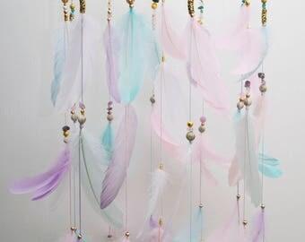 Bаbу Mobile Nursery Decor Mobiles Kids decor Colorful Crib Bedroom Dream Catcher Kids Baby Girl Boy Mint Pink Gold