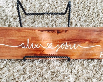 Custom Wood Signs--Couple's Names & Anniversary Date