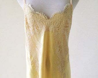 VTG Yellow Satin Full Length Slip Dress with Lace Applique