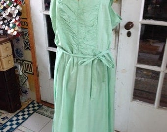 50's mint green cotton fit and lare dress, size large