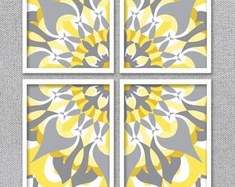Printable Art, Digital Download Art, Printable Wall Art, Yellow and Gray Art, Mandala Art, Modern Flower Art, Abstract Printable Art