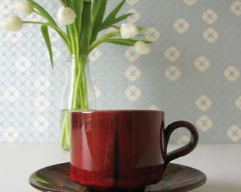 Vintage Ceramic Cup and Saucer in Red Glaze 70s 17059