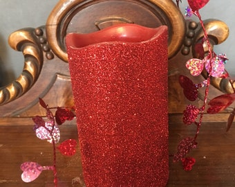 Valentines candle, Valentines day gift, St. Valentines day, valentines gift, red candle, cinnamon scented candle, flameless candle,