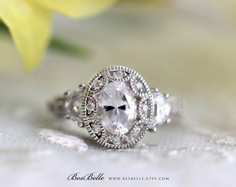Art Deco Engagement Ring-Oval Cut Diamond Simulant-Vintage Ring-2.25 ctw Art Deco Ring-Half Moon Stones-Bridal Ring-Sterling Silver [3950]
