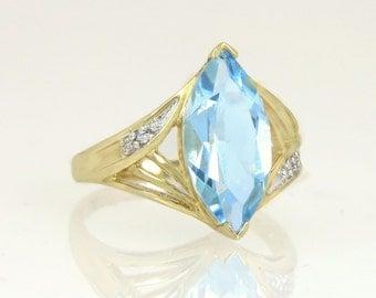 Estate 14K Yellow Gold 3.20ct Blue Topaz & Genuine Diamond Engagement Ring 4.4g