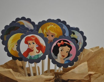 Disney Princesses Cupcake Toppers / 12 Count