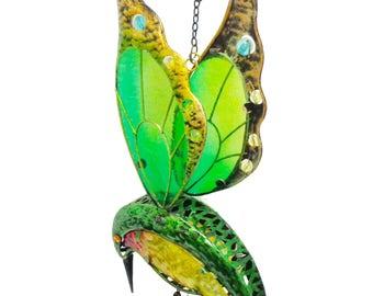 Solar LED windchime - flammingo & hummingbird