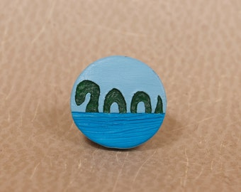Lake Monster Pinback Button, Loch Ness Monster Pin, Nessie Button, Loch Ness Monster Button, Cryptid Pin, Cryptid Button, Cryptozoology Pin