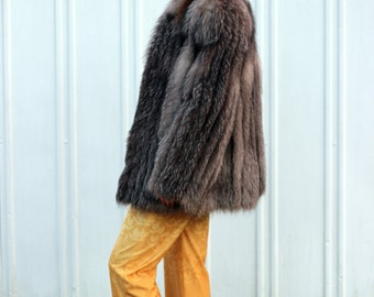 SALE! Foxy Loxy: Rare 1980s Vintage Genuine Indigo Silver Fox Stroller Full Skin Glam Winter Coat MINT Condition