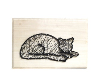Missouri, the sleeping cat - DIY kit - String art kit - Cat lover - gift for cat lover - birthday gift - All included - creative kit