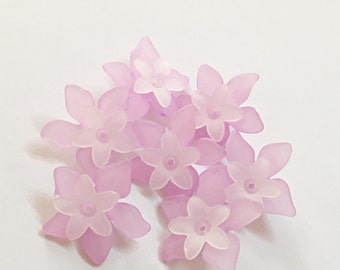 Lucite Acrylic Beads 24 pcs, Frosted Dyed, White Flower, acrylic flower beads 27x29mm, 17x16.5mm lucite flower beads, acrylic flowers purple