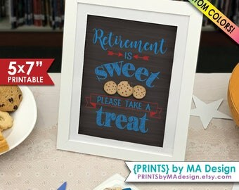 """Retirement Party Sign, Retirement is Sweet Please Take a Treat Cookie Sign, Sweet Retirement Sign, 5x7"""" Printable Chalkboard Style Sign"""