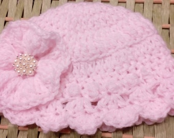 Free Shiping! Crochet Baby Girl Hat, Baby Girl Hat, Pink Hat, Baby Shower Gift, Hat fit 3-6 months
