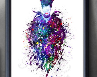 Disney Maleficent Sleeping Beauty Watercolor Poster Print - Watercolor Painting -Kids Decor-Nursery Decor