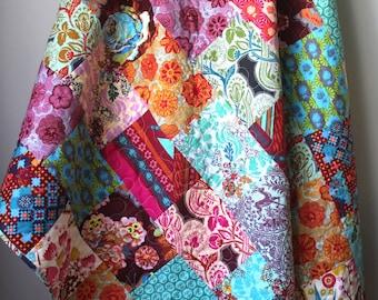Modern Throw Quilt-Bohemian Quilt- Modern Lap Quilt-Dowry Anna Maria Horner Quilt- Boho Home Decor- Homemade Lap Quilt- Boho Decor