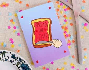 Spread the Love Card | Birthday Card | Greetings Card | Pun Card | Pun Greetings Card | Pun Birthday Card | Illustrated Card | Toast Card