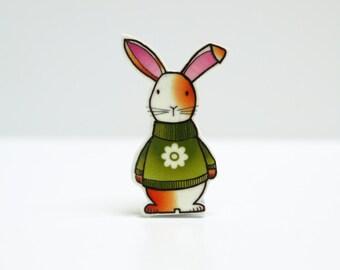 Gatsby the Rabbit in a flower jumper Brooch