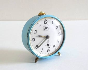 Vintage 1950s Turquoise Blue JAZ Alarm Clock - French Retro Mid Century Mechanical Collectible Alarm Clock