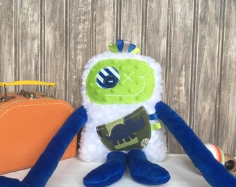 Hug Monster, lime green and dark blue with Triceratops dinausor print pocket, boy shower/birthday gift, friendly plush for boys,ready to go.
