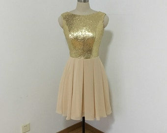 Scoop Light Gold Sequin Champagne Chiffon Short Bridesmaid Dress