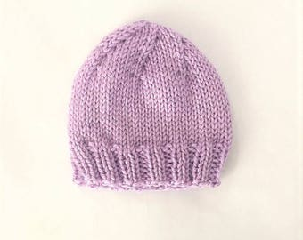 Baby Hat Hand Knit, Spring Baby Beanie, Light Weight Baby Hat - Lilac (Newborn)