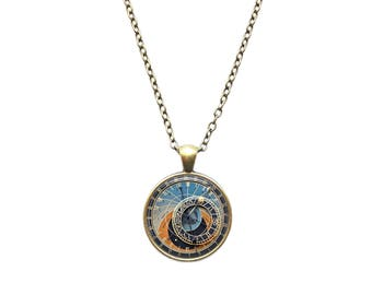 Astrology necklace Clock jewelry Astronomy pendant