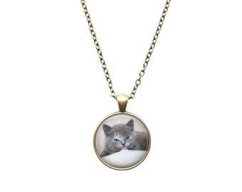Pet Cat pendant Kitten necklace Animal jewelry