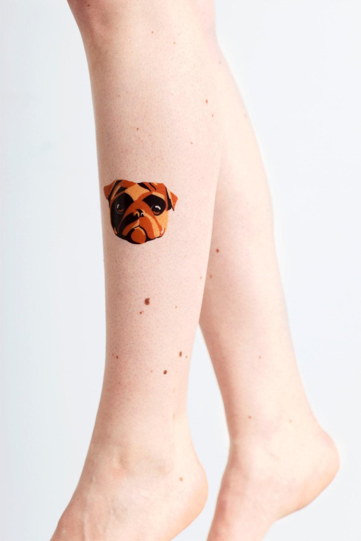 2 large pug temporary tattoo pack dog temporary tattoo for Wash off temporary tattoos