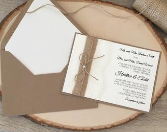 Rustic wedding invitation, lace and burlap wedding invitation, lace wedding invitation,twine wedding invitation with pearl, kraft invitation
