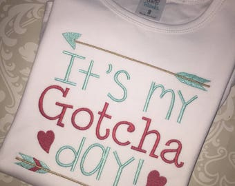 It's my gotcha day embroidered shirt, adoption tee, boy girl gotcha day adoption apparel, embroidered adoption shirt for kids, Gotcha day
