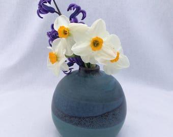 Green and black pottery bud vase, green, black, and turquoise glaze, ceramic bud vase, round vase, modern design vase