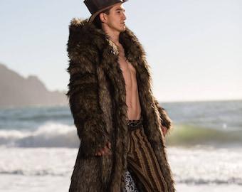 JON SNOW Fur Coat | Burning Man | Playa Jacket | Mens Costume | Faux fur coat for men | Boho Coats