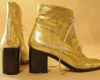 1970s/1980s  Metallic Gold Dust Paten Leather, Disco, Party Ankle Boots, Booties with Black Stacked Heel