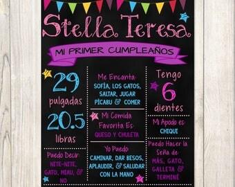 Mi Primer Cumpleaños Pizarra, Spanish Custom Chalkboard Birthday Sign, Printable, Birthday Poster, Digital File, Likes Loves Stats