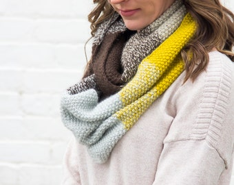 Ready to Ship - Color Block Infinity Scarf | Striped Circle Scarf | Merino Wool Cowl