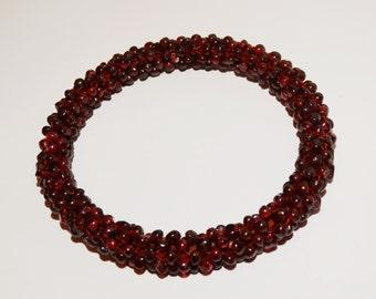 """Garnet Bead 2.40"""" inner Diameter Bangle Bracelet."""