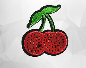 Cherry Sequin Iron on Patch (L) - Sequin Cherry,Glitter Applique Iron on Patch - Size 6.6x7.6 cm