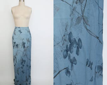 Vintage 1990s High Waist Skirt - Long Skirt - Calf Length - Blue and Grey Floral - Women's Small
