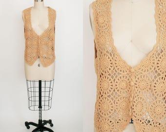 Vintage Crochet Vest - Button Front - Yellow - Sleeveless - Circles - Knit - Sweater Back - Hippie Festival Boho - Women's Small