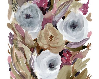 Modern Watercolor Florals - Print Your Own decor - neutral floral - 8x10 wall art