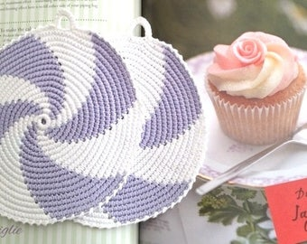 Crochet Potholders, Crocheted Potholders, Purple Potholders, Kitchen decor