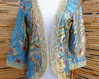 1990s Floral Printed Embroidered Silk Lightweight Jacket - Small/Medium